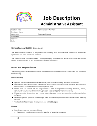Administrative Assistant Example Resume Administrative Assistant Job Description For Resume Resume For
