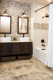 mosaic bathroom tile ideas continue accent tile in shower to backsplash for vanity design