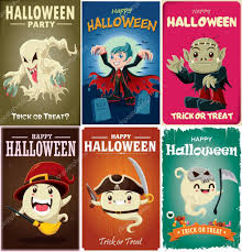 vintage halloween poster design set with vector vampire witch