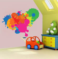 rainbow wall decal etsy color decal splash wall paint design mural art swatch