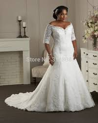plus size wedding dresses with sleeves tea length arrival ivory organza mermaid plus size