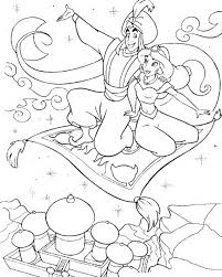 aladdin taking jasmine on flying carpet coloring page aladdin