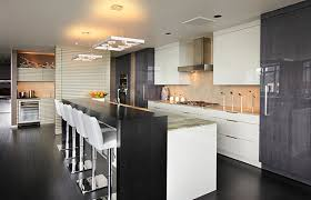 decorating tiny modern kitchen with wood bar table and white