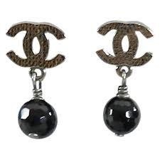 cc earrings chanel 10v gunmetal and black bead cc earrings at 1stdibs