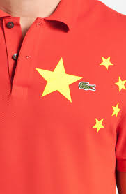 lacoste china flag piqué polo in red for men lyst