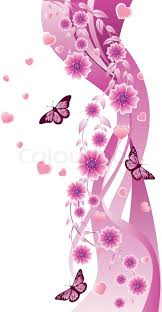 beautiful pink ornament with butterflies and flowers stock