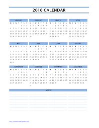 2016 calendar one page