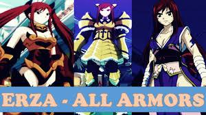 erza scarlet all armors fairy tail anime manga youtube