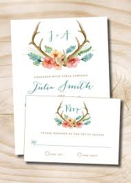 Invitations With Response Cards Rustic Floral Antlers Wedding Invitation And Response Card 100