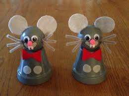 mice clay pot paint doll head felt and chenille pipe cleaners