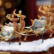 thomas kinkade halloween amazon com thomas kinkade santa u0027s sleigh illuminated figurine
