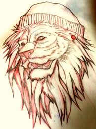 lion drawing color