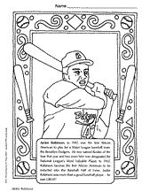 Jackie Robinson Coloring Page Black History Month Printable Jackie Robinson Coloring Page