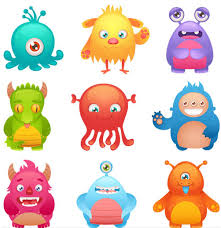 cartoon monsters 2 ai format free vector download