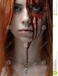 with red hair bloody face stock photo image 53158834