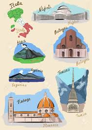 Turin Italy Map by Sights Of Italy Drawn In Watercolours Style Royalty Free Cliparts
