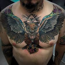 open wings owl on chest