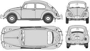 vintage cars drawings 1963 volkswagen beetle 1300 sedan blueprints free outlines