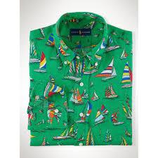 ralph lauren sailboat print linen shirt in green for men lyst