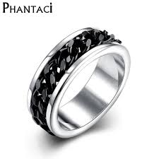 cool mens rings aliexpress buy spinner black chain 316l stainless steel