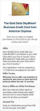 delta gold business card amex delta gold business 50k skymiles offer is back 50