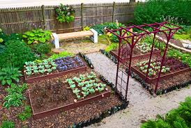 diy backyard garden house design with 4x8 painted dark brown wood raised bed gate and wooden bench with cinder block legs ideas