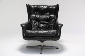 vintage danish leather highback swivel armchair by kanari