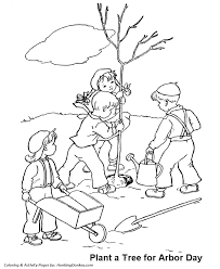 arbor coloring pages children planting tree coloring pages