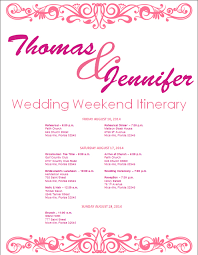 wedding agenda templates 27 images of weekend itinerary schedule template eucotech