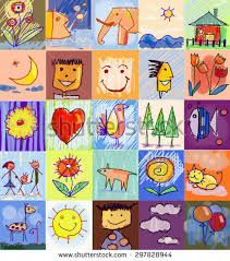 collection cute drawings kids childrens drawing stock illustration