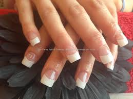 full set of acrylic nails with white tips hair and beauty