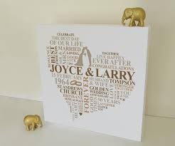 golden anniversary gifts canvas golden wedding anniversary gift personalised word