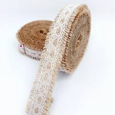 rustic ribbon 5 meters jute burlap hessian ribbon with lace trims
