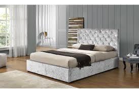 King Ottoman Chatsworth Silver Crushed Velvet Ottoman Storage Bed Frame