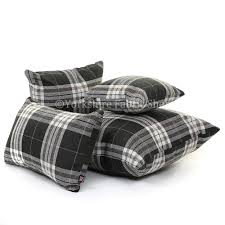 louise tartan design fabric cushion in black colour