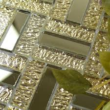 Wall Tiles For Kitchen Ideas Glossy Glass Mirror Tile Kitchen Backsplash Random Wave Patterns Gold