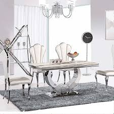 chrome dining room sets cheap round dining table brown wooden bench black stainless steel
