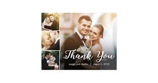 thank you wedding cards overlapped photos wedding thank you card postcard zazzle
