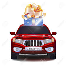 car gift bow blue gift with gold bow on car isolated on white background