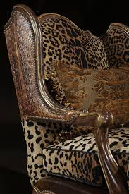 animal print carved chair embossed leather living room