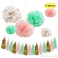 pink and gold party supplies nicro mint green paper flowers paper fresh pink gold dot tassel