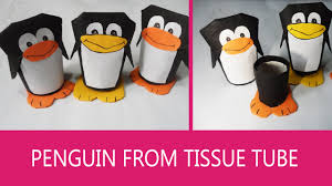 penguin craft gift box out of toilet paper tube youtube