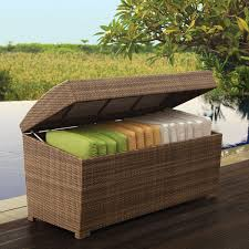 Outdoor Patio Cushion Storage Bench by Wicker Cushions Box Palms Collection Thos Baker