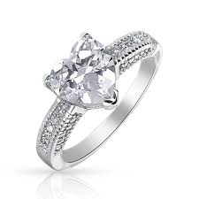 heart ring sterling silver heart shaped cz engagement ring