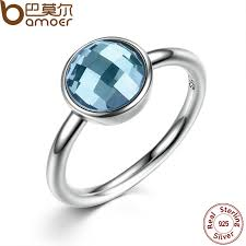 stone finger rings images Bamoer summer collection pure 925 sterling silver rings blue jpg