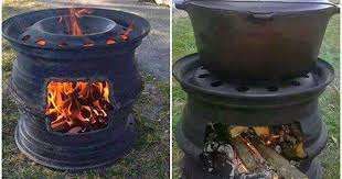 Old Fire Pit - how to make your own fire pit bbq out of car wheel rims