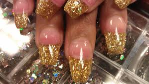 how to coffin gold glitter nails part 1 pink acrylic youtube
