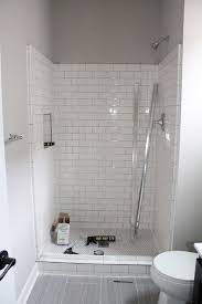 Small Contemporary Bathroom Ideas Grey Wall Color With Superb White Subway Tile For Small