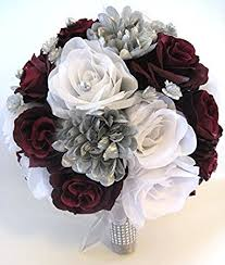 wedding flowers silk wedding flowers silk bridal bouquet burgundy wine