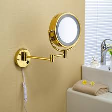 owofan bath mirrors 9 inch brass 1 3 magnifying wall round led